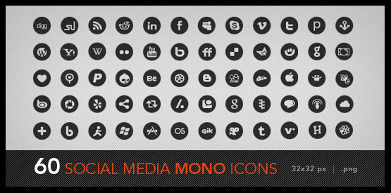 60 black and white social media icons