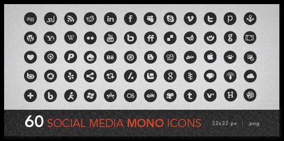 60 black and white social media icons