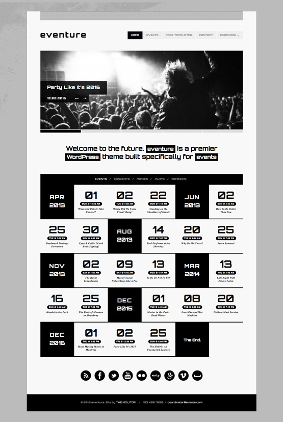 wordpress event calendar theme
