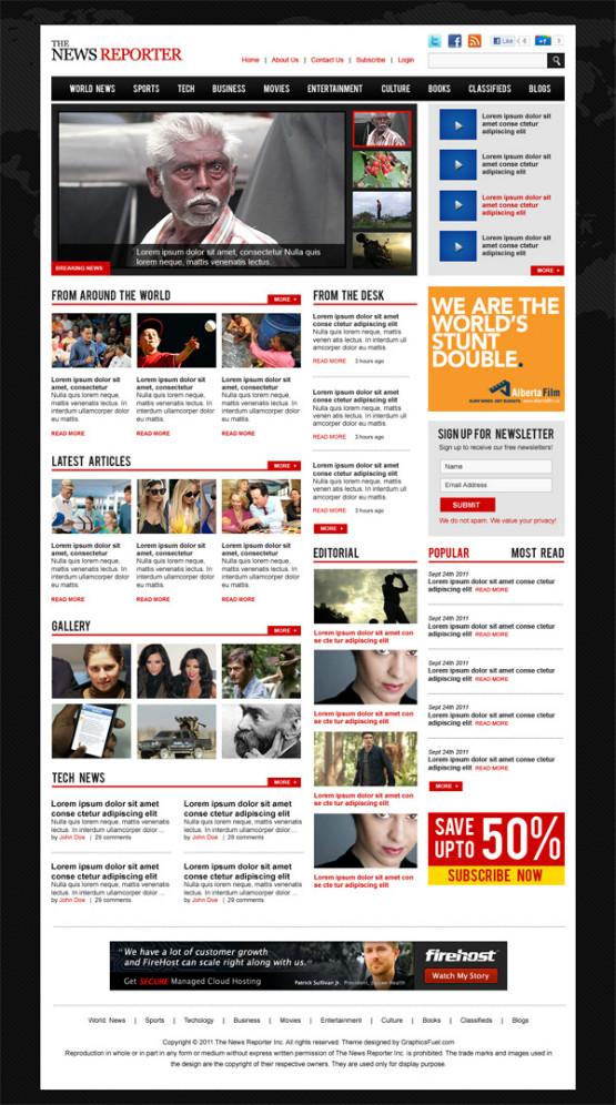 40 free professional psd website templates for download. Black Bedroom Furniture Sets. Home Design Ideas