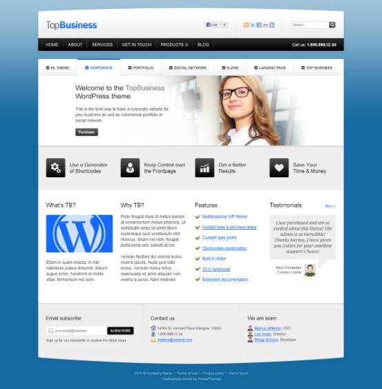 40 free professional psd website templates for download filed under resources pronofoot35fo Image collections