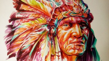 black foot red indian watercolor