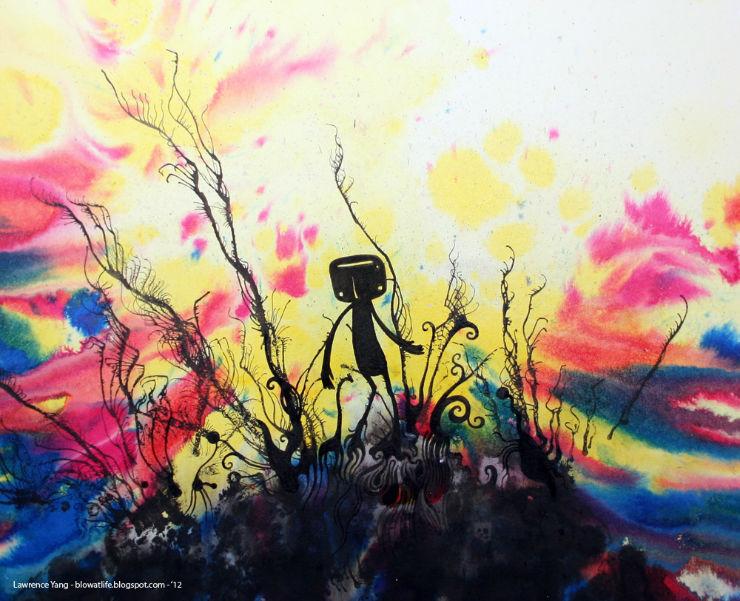 Lawrence Yang painting - walking