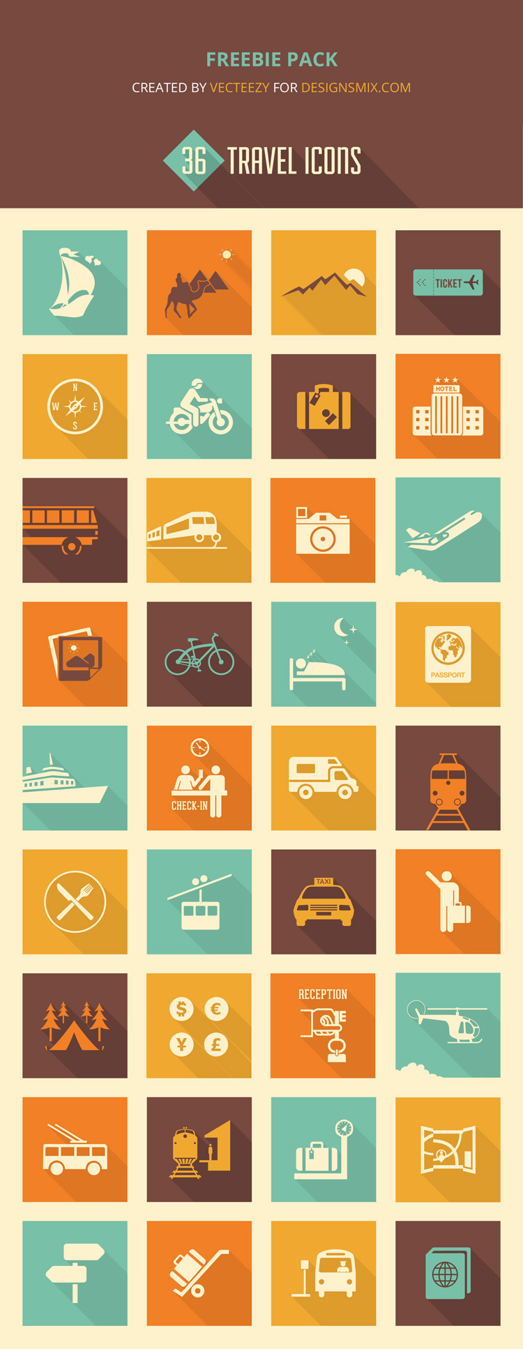 free vector icon set for travel