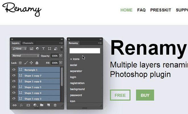 Renamy Photoshop Plugin