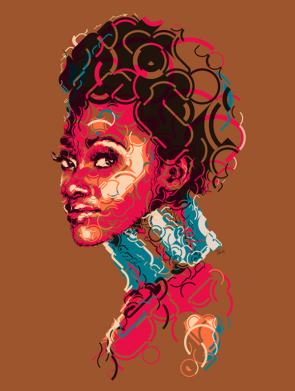 Portrait of an African girl. Artwork by Charis Tsevis.