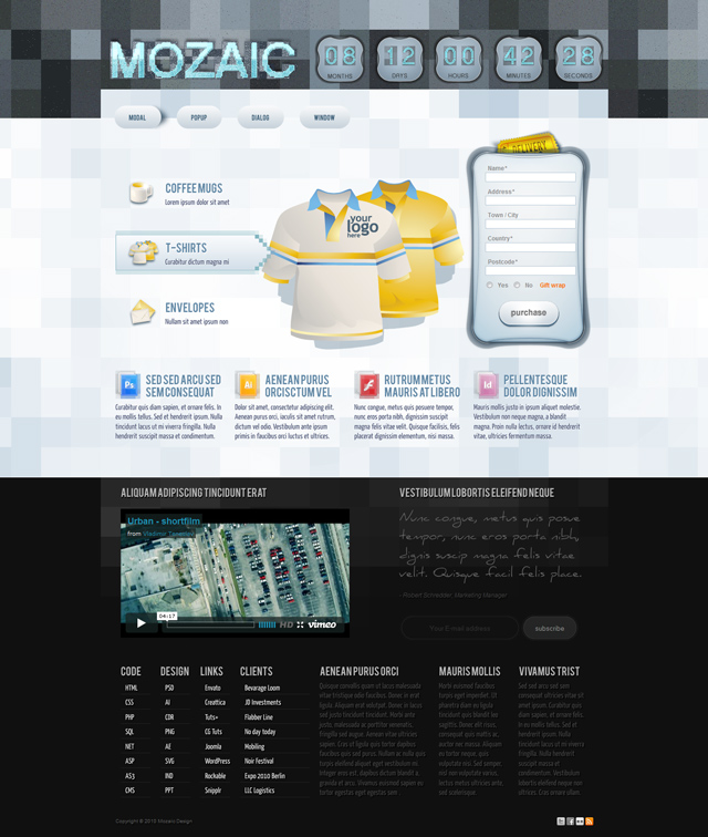 Mozaic – Free Adobe Photoshop Website Template