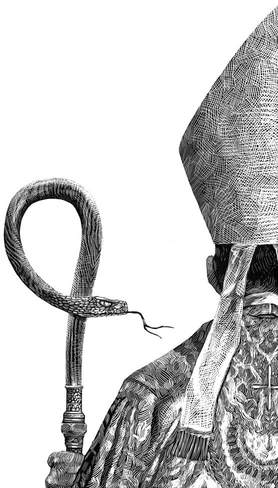 pope Scratchboard Illustration