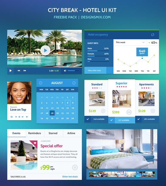 Hotel UI kit free