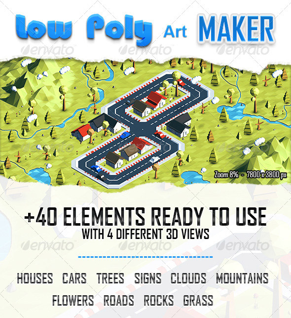 Low Poly map generator Photoshop Action
