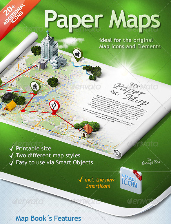 Paper Maps creator PSD action