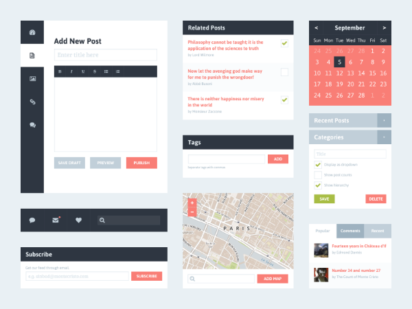 Freebie PSD Blog Flat UI Kit 16