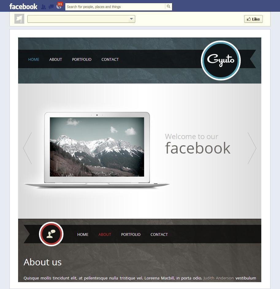 Facebook HTML Template
