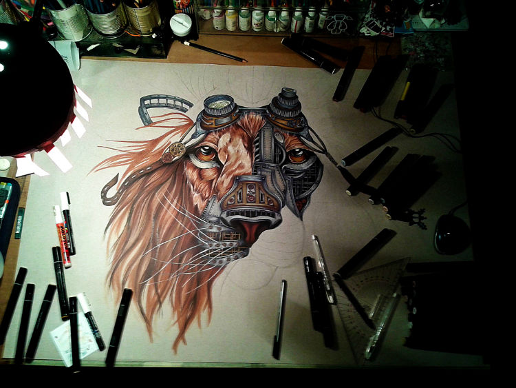 making of - steampunk lion