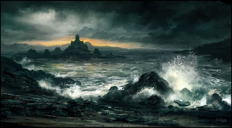Andreas Rocha digital painting Crashing-Waves