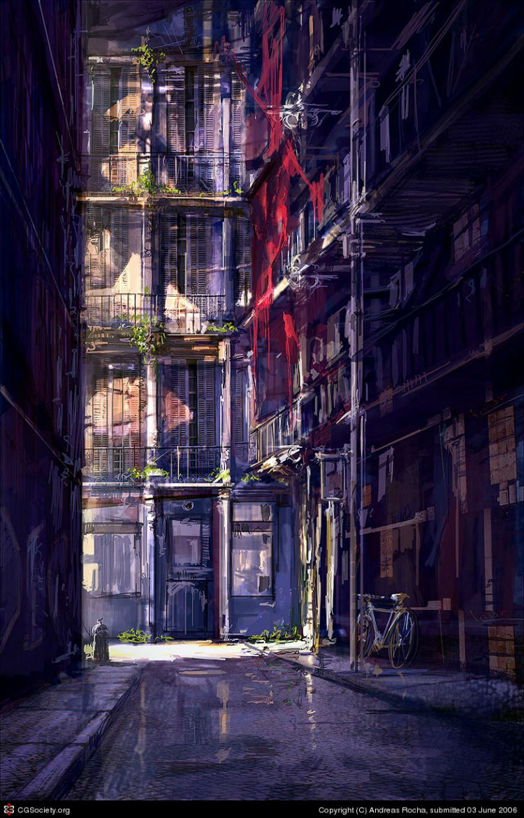 alley in barcelona - speed painting