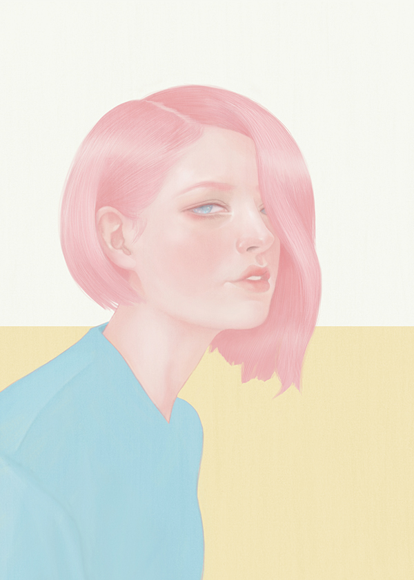 pink hair girl by hsiao ron cheng
