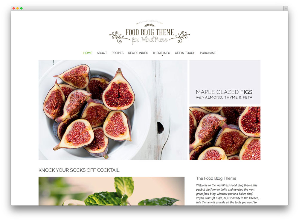 the food blog wordpress theme
