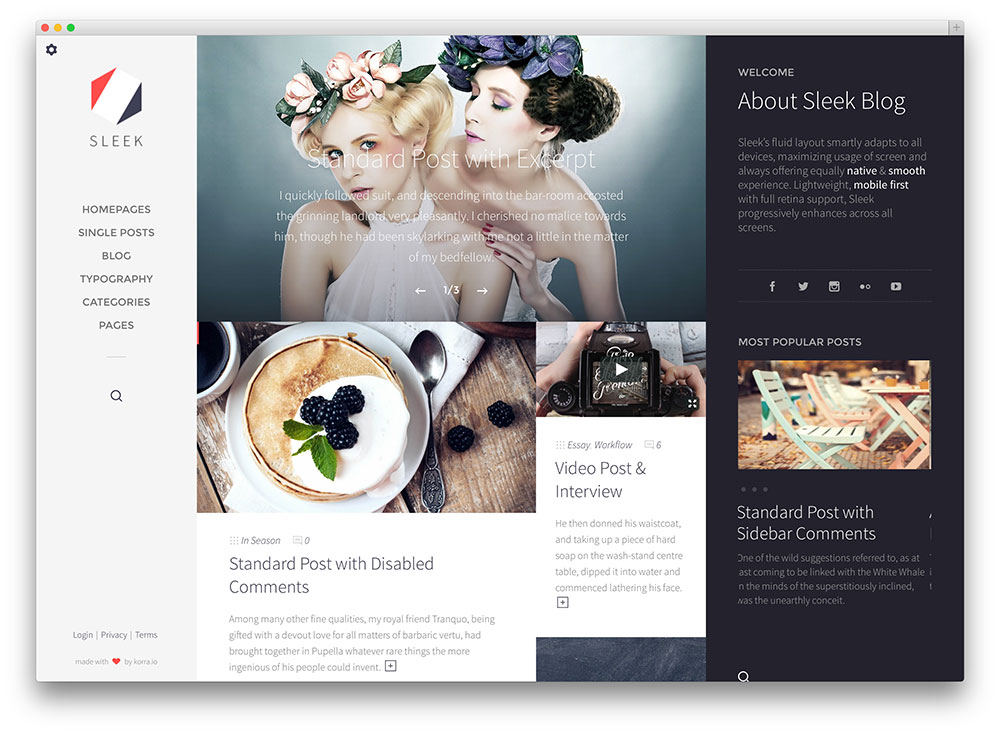 sleek full screen fashion blog theme