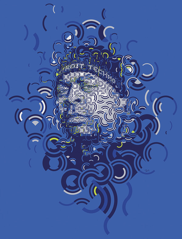 A mosaic portrait of DJ BONE a Detroit Techno DJ. Created for a party in an Athens club.